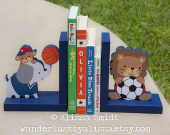 Future All Star bookends, Elephant Lion Sports Themed Wooden Bookends (elephant, lion,  sports, basketball, soccer, Lambs and Ivy bedding)