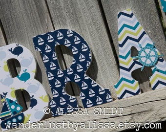 Nautical Nursery Letters, Wooden Letters - Custom Letters, Whales N Waves (whale boat crab anchor teal navy lime green light blue), 9 Inch