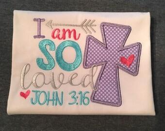 Cute Little Girls Applique Shirt. John 3:16