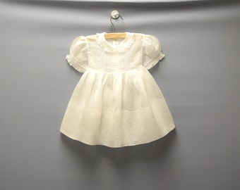 Vintage Baby Clothes, 1940's Ivory Organdy and Lace Baby Girl Dress, Vintage Baby Dress, Organdy Baby Dress, Size 18-24 Months