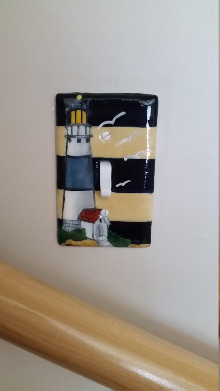 Nautical coastal living lighthouse hand painted switch plates for Lighthouse switch plates