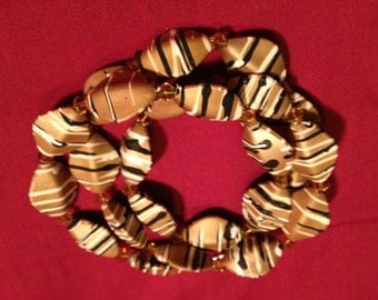 Stripes: Handmade Brown Striped Acrylic Necklace