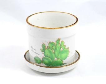 Tiny Cactus Planter . Pot . 80s