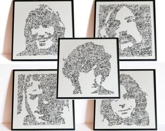 Pink Floyd Set -20% discount - includes portrait of Syd Barrett / David Gilmour / Roger Waters / Rick Wright / Paul mason Cartoon drawing