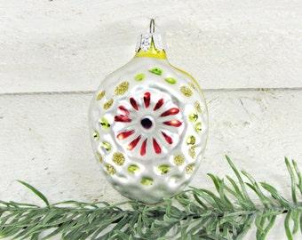 Vintage Glass Christmas Ornament, Silver Pine Cone Ornament, Handpainted Flower Ornament, Christmas Tree Ornament, 1960s Decoration Decor