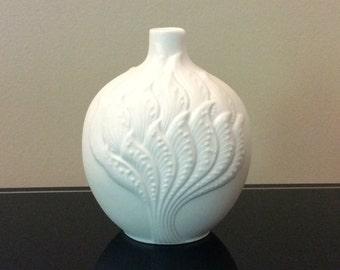 AK Kaiser West Germany Mini Op Art Bisque Porcelain White Vase - M.Frey