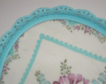 Turquoise Oval Vanity Tray - Shabby Chic Floral Hankie Hand Painted Filigree Picture Frame