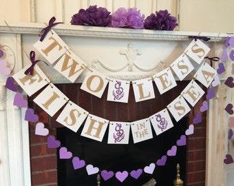 Two Less Fish in the Sea Banner - Nautical wedding Decor - Couples Shower Decor - Gold & Purple Nautical Bridal Shower - Your Color choice