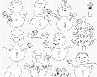 christmas stamps snowman digital - Frosty Friends Digital Stamps