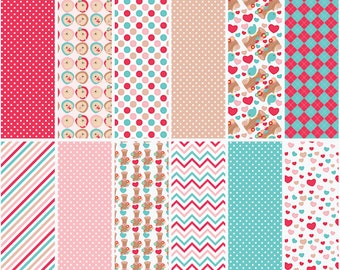 valentines day digital papers hedgehogs birds hearts woodland snail flowers trees - Valentine Hedgehogs Digital Papers
