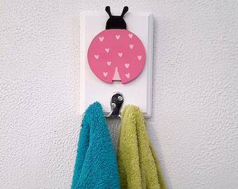 Ladybug Towel Hanger, Ladybug Coat Hanger, Towel Rack, Coat Rack, Kids Decor, Ladybug Room Decor