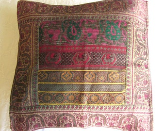 Antique Embroidery, Vintage Embroidered  Pillow Case, Metallic Embroidery, Patchwork Embroidery, Small Art Hanging