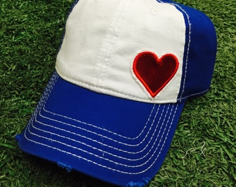 Red, White and Blue Heart Baseball Bling Ladies Womens Hat