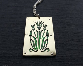 Egyptian Lotus Pendant - handcut brass and green paua shell - Handcrafted Jewellery