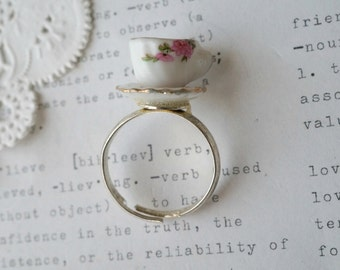 China Teacup on Silver Band Ring