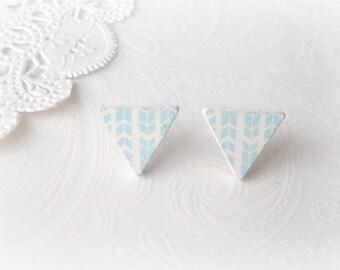 Wooden White & Light Blue Arrow Triangle Stud Earrings