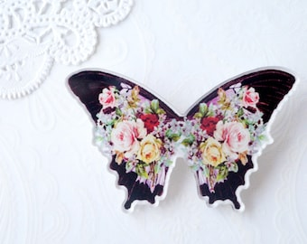 Black Colourful Floral Acrylic Brooch