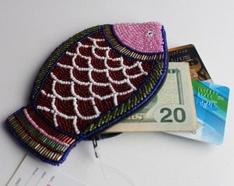 Glass Beads Crocheted Fish Design Multicolored Coin Pouch