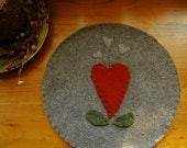 Wool Trivet  - Hearts and flowers