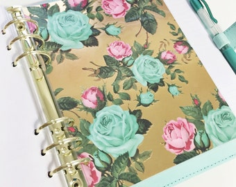 A5 Size Gold Foil With Large Mint and Pink Vintage Roses Laminated Dashboard Filofax Large Kikki k Planner