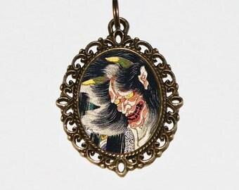 Demon Samurai Necklace, Ukiyo-e, Japanese Woodblock Art, Samurai Jewelry, Oni, Edo Period, Oval Pendant