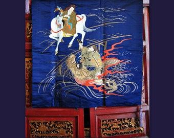 Meiji Japanese Silk Tapestry Antique Chinese Ming Dynasty Mythology Gold Embroidery Dragon Emperor Asian Journey tothe west Art Wall hanging