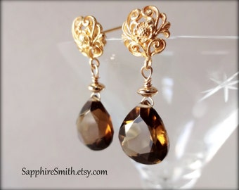 GOOD AS GOLD Beer Quartz Earrings, Bali 24kt Gold Vermeil Fancy Post Earrings, neutral tones, golden brown ale lager