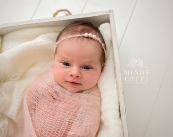 Newborn headband, Newborn photo prop, Pearl Tieback Headband, Baby photo prop, Eco headband, Newborn tieback