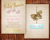 Carousel Baby Shower Invitation Pink Gold and Mint Vintage