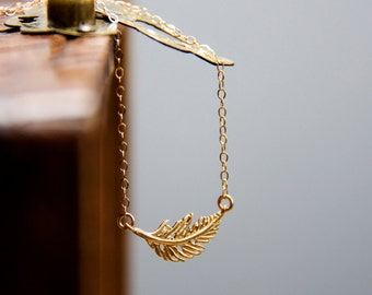 Tiny Feather Necklace Minimal Everyday Layering Necklace Gold Filled Chain Minimalist Dainty Jewelry - N315