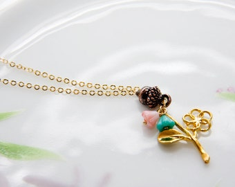 Flower Acorn Necklace Floral Twig Necklace Pink Flower Turquoise Flower Branch Necklace - N322