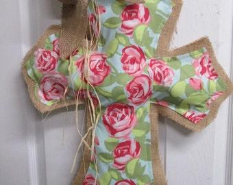 Burlap Cross Burlap Door Amy Butler Fabric Roses
