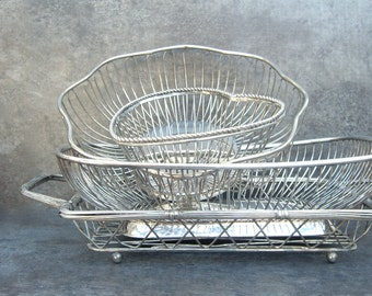 Silver Bread Basket 4 pc Instant Collection, Heart Shape, Footed, Handle, Wedding Shower Buffet, Industrial, Vintage Silverplate