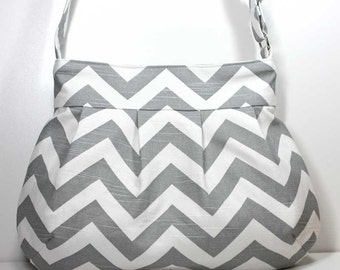 Gray / Grey and White Chevron Pleated Shoulder Purse Sling Bag Hobo Shoulder Bag Cross Body Bag Crossbody Bag - Ready to Ship