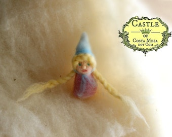 Tiny Finger-Warmer Gnome Girl with two pigtails. Needle-felted Finger and Heart-warmer Finger Puppet Gnome by Castle of Costa Mesa