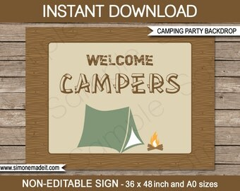 Printable Camping Signs Direction Arrows INSTANT DOWNLOAD