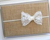 Ivory Lace Bow Headband - Ivory Lace Headband - Ivory Bow Headband