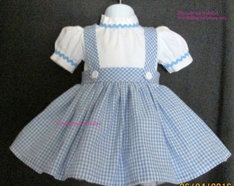 Dorothy costume, Dorothy dress sizes NB-24 mos