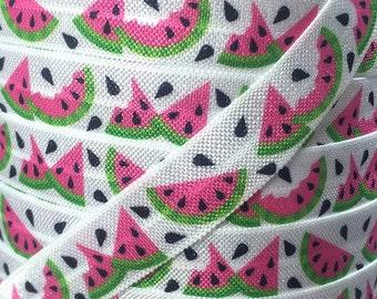 "5/8"", Pink Watermelon FOE, Fold Over Elastic, Fruit Elastic, Elastic by the Yard, DIY Hair Ties, DIY Headband, Elastic Hair Ties"
