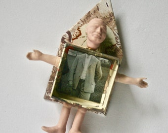 Mixed Media Art Doll House for Home or Office Decor