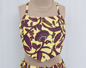 African Printed Crop/Tie Back Top