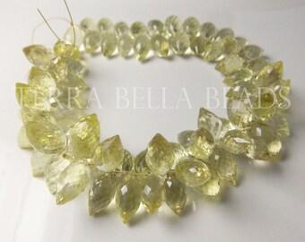 15 pc strand AAA LEMON QUARTZ  faceted gem stone dewdrop briolette beads 12mm - 13mm