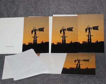 5x7 Windmill at Sunrise, Blank Greeting Cards
