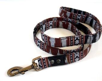 BOHO woven Dog Leash - black, brown- Antique Brass