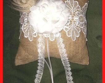 Burlap Lace Rustic Bridal Ring Bearer PILLOW  Feather Decor