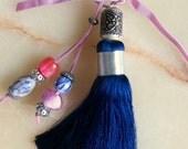 Moroccan accessory - dark blue art silk tassel - beaded  pendent  - moroccan art