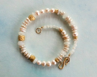 Moonstone & Freshwater Pearl Necklace with Matte Gold Plated Beads - Bridal necklace