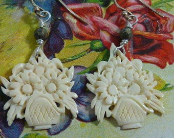 HANDCARVED BOUQUET vintage sterling BONE assemblage earrings lovely antique