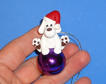 Polymer Clay White Lab Dog on Glass Ornament