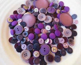 Purple Buttons Assortment Amethyst Lilac Lavender Violet Mix 200 pcs